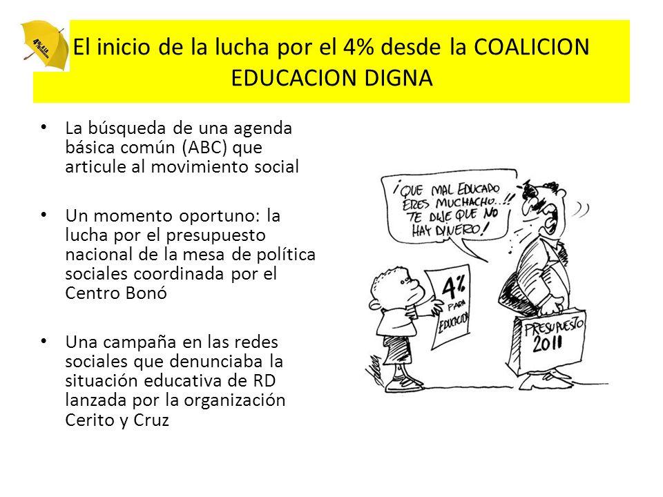 El inicio de la lucha por el 4% desde la COALICION EDUCACION DIGNA