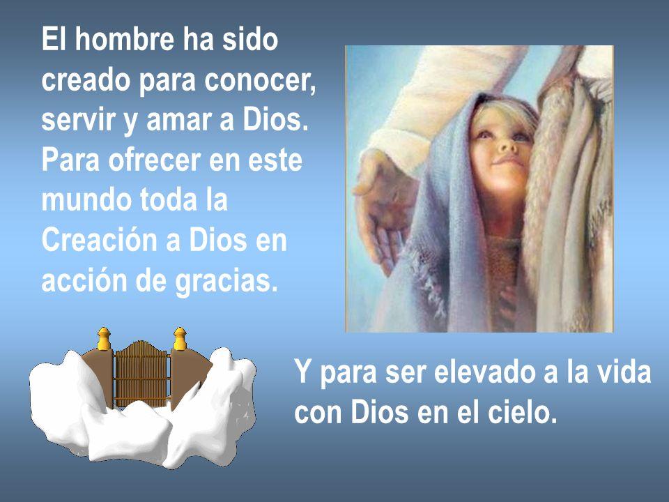 El hombre ha sidocreado para conocer, servir y amar a Dios. Para ofrecer en este. mundo toda la. Creación a Dios en.