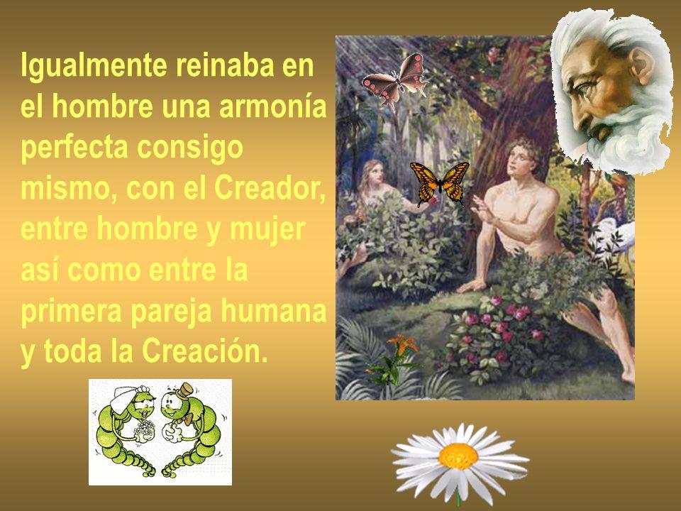 Igualmente reinaba enel hombre una armonía. perfecta consigo. mismo, con el Creador, entre hombre y mujer.
