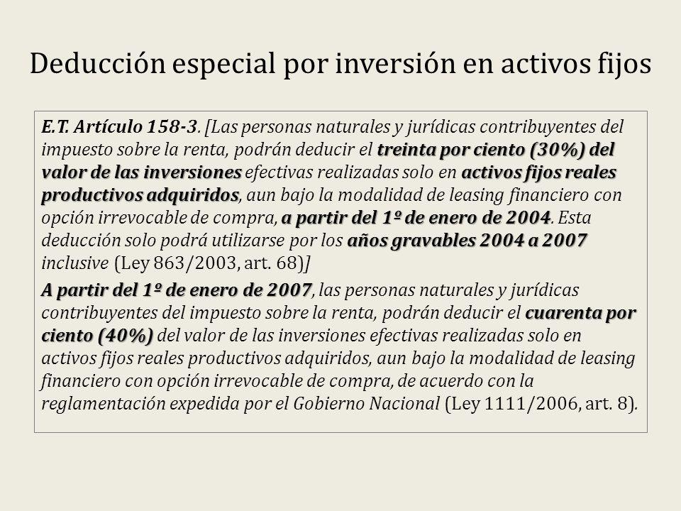 Deducción especial por inversión en activos fijos