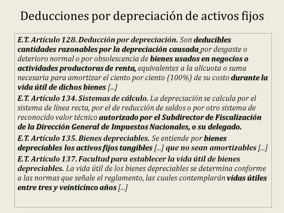 Deducciones por depreciación de activos fijos