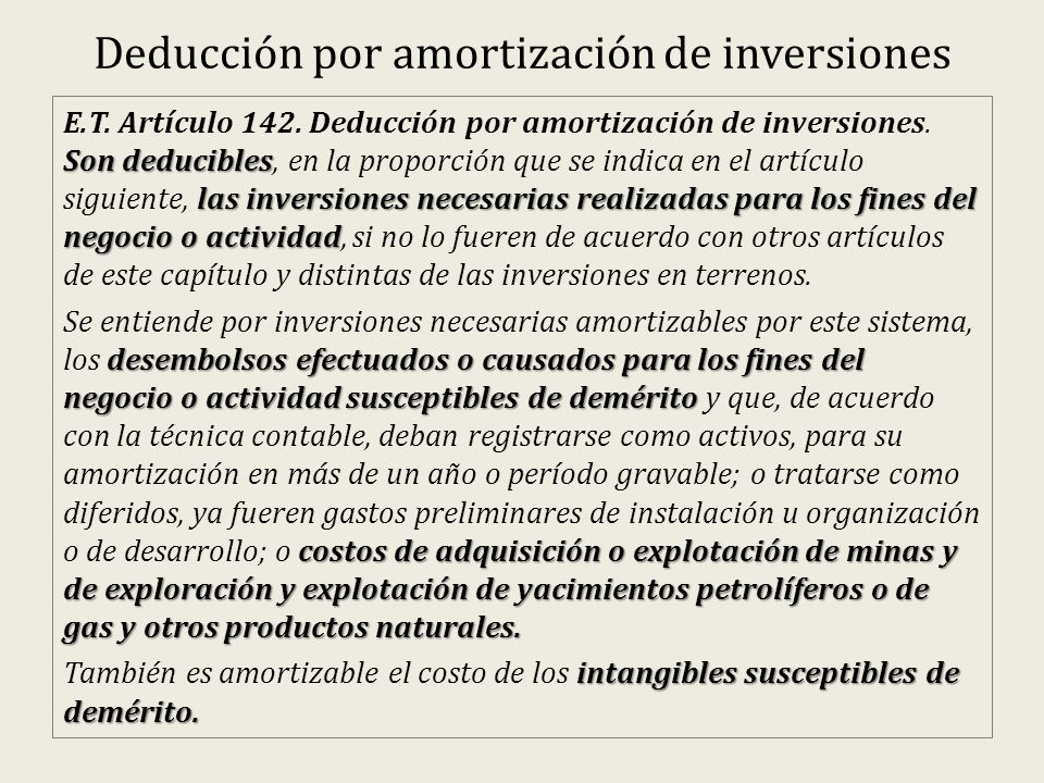 Deducción por amortización de inversiones