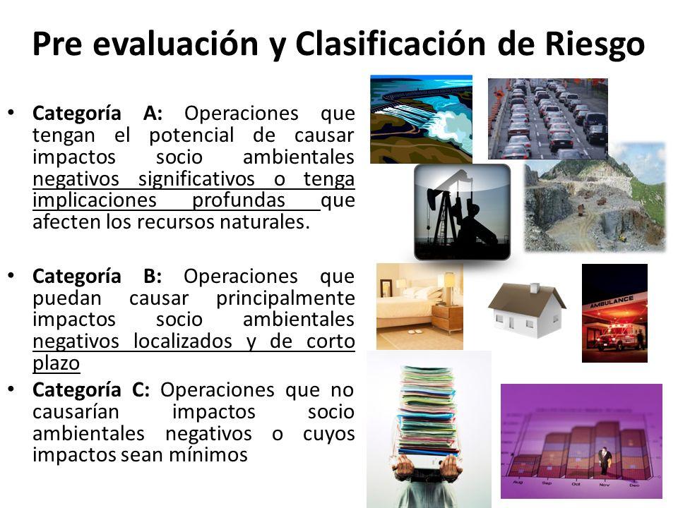 Pre evaluación y Clasificación de Riesgo