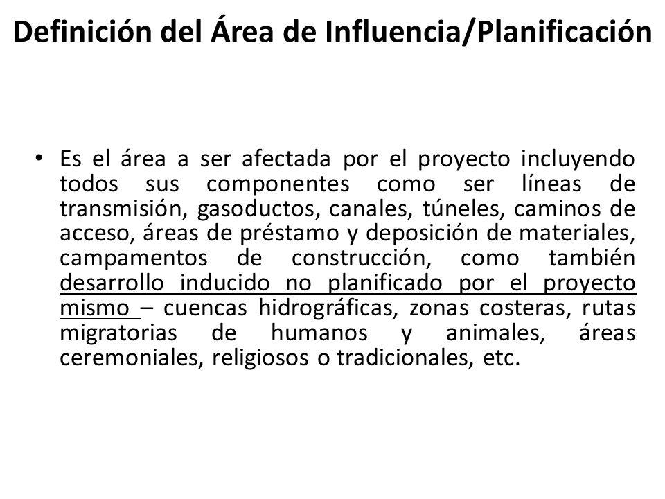 Definición del Área de Influencia/Planificación