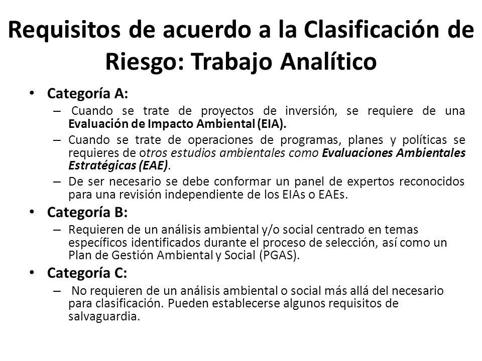 Requisitos de acuerdo a la Clasificación de Riesgo: Trabajo Analítico