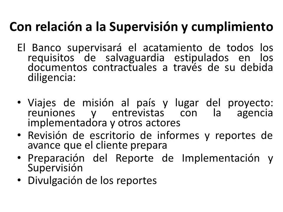 Con relación a la Supervisión y cumplimiento