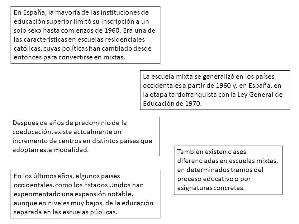 En España, la mayoría de las instituciones de educación superior limitó su inscripción a un solo sexo hasta comienzos de 1960. Era una de las características en escuelas residenciales católicas, cuyas políticas han cambiado desde entonces para convertirse en mixtas.