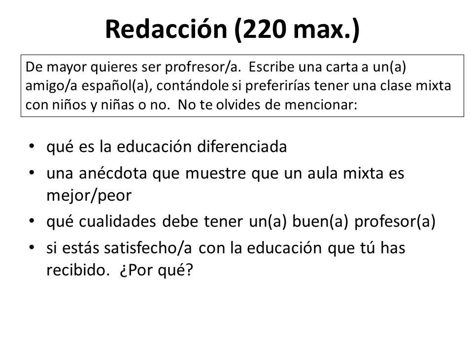Redacción (220 max.) qué es la educación diferenciada
