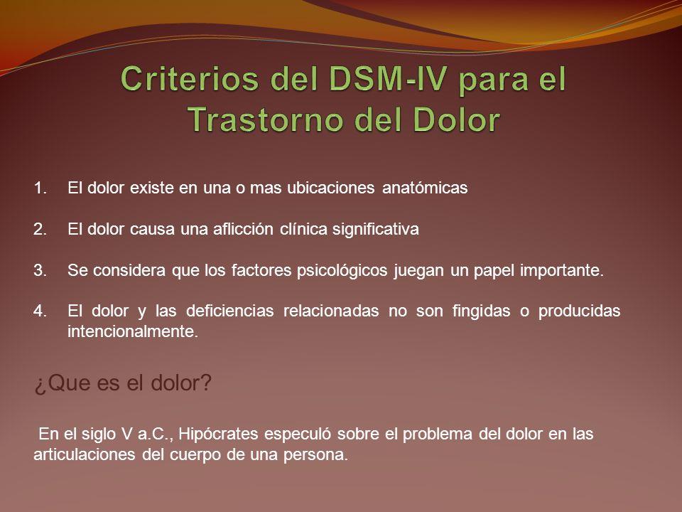 Criterios del DSM-IV para el Trastorno del Dolor