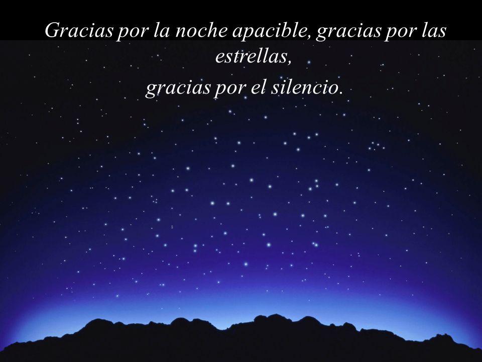 Gracias por la noche apacible, gracias por las estrellas, gracias por el silencio.