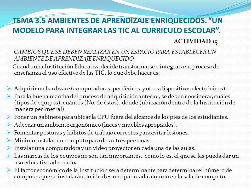 TEMA 3. 5 AMBIENTES DE APRENDIZAJE ENRIQUECIDOS