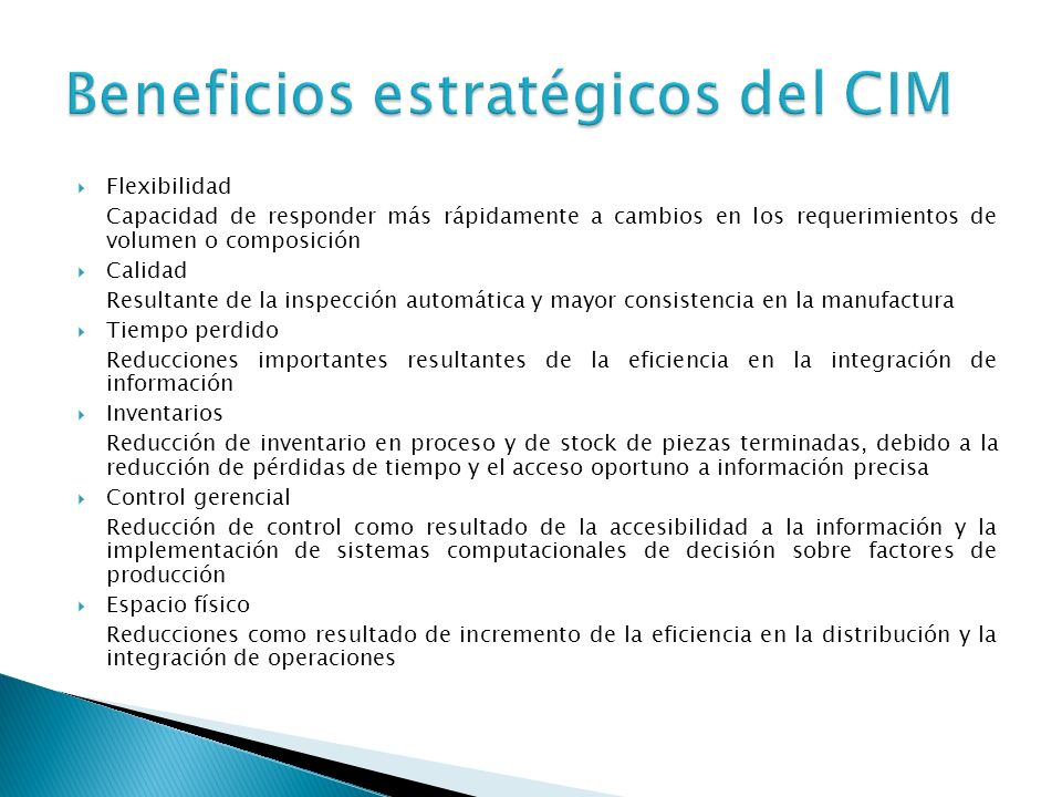 Beneficios estratégicos del CIM