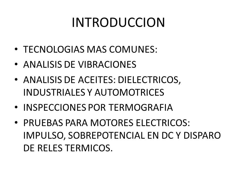 INTRODUCCION TECNOLOGIAS MAS COMUNES: ANALISIS DE VIBRACIONES