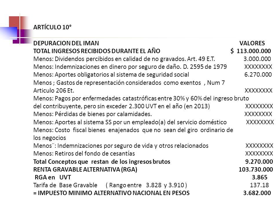 ARTÍCULO 10° DEPURACION DEL IMAN VALORES.