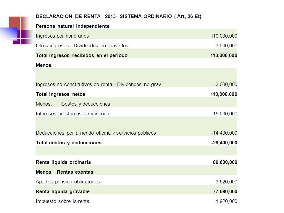 DECLARACION DE RENTA 2013- SISTEMA ORDINARIO ( Art, 26 Et)