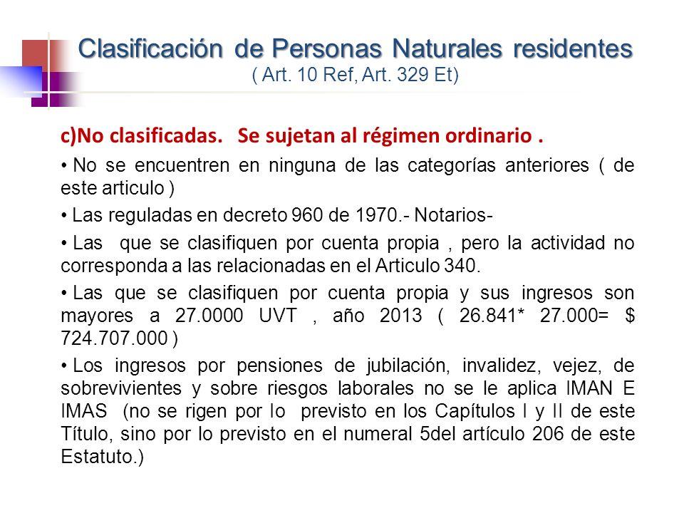 Clasificación de Personas Naturales residentes ( Art. 10 Ref, Art