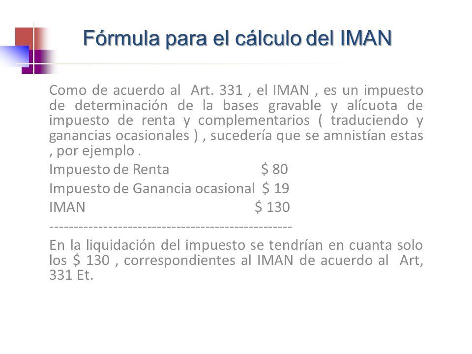 Fórmula para el cálculo del IMAN