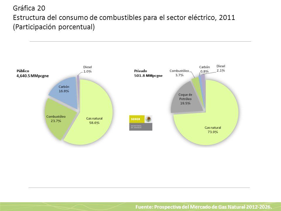 Gráfica 20 Estructura del consumo de combustibles para el sector eléctrico, 2011 (Participación porcentual)