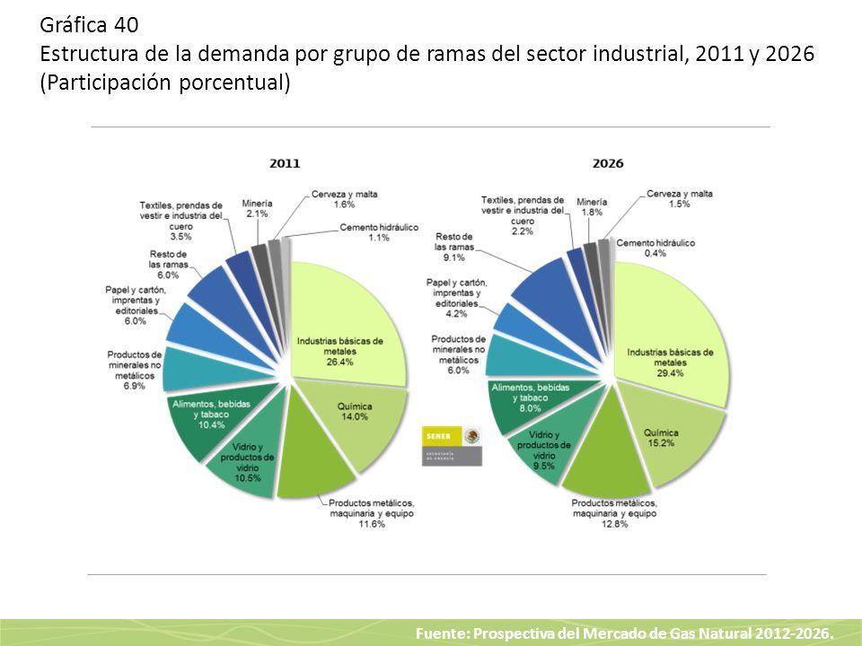 Gráfica 40 Estructura de la demanda por grupo de ramas del sector industrial, 2011 y 2026 (Participación porcentual)