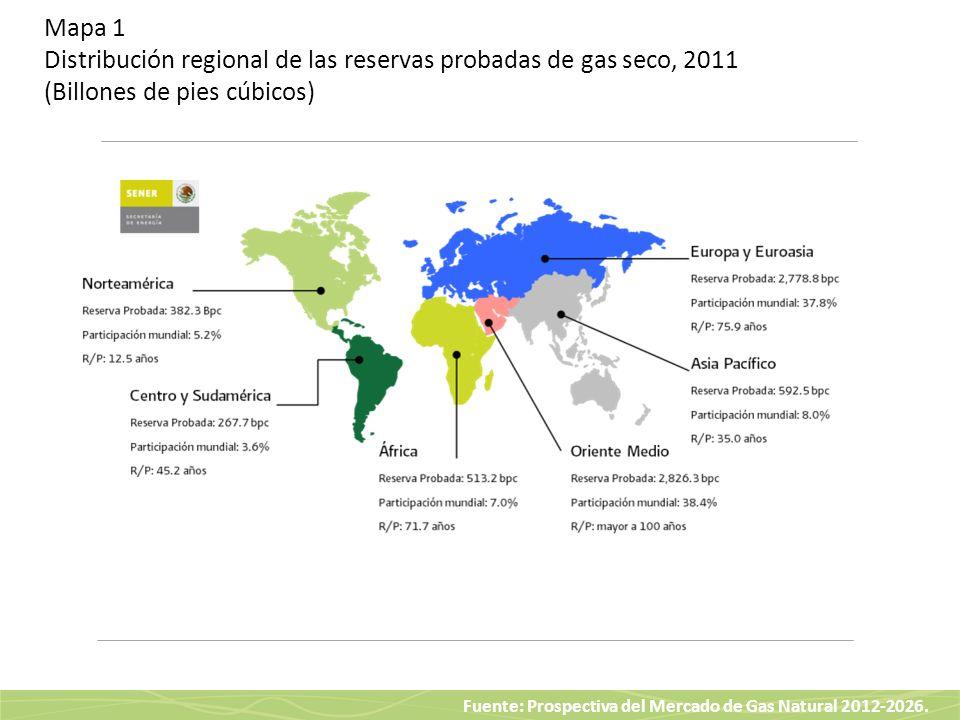 Mapa 1 Distribución regional de las reservas probadas de gas seco, 2011 (Billones de pies cúbicos)