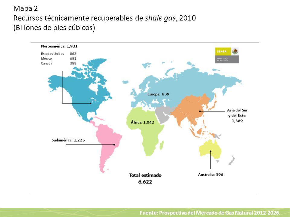 Mapa 2 Recursos técnicamente recuperables de shale gas, 2010 (Billones de pies cúbicos)