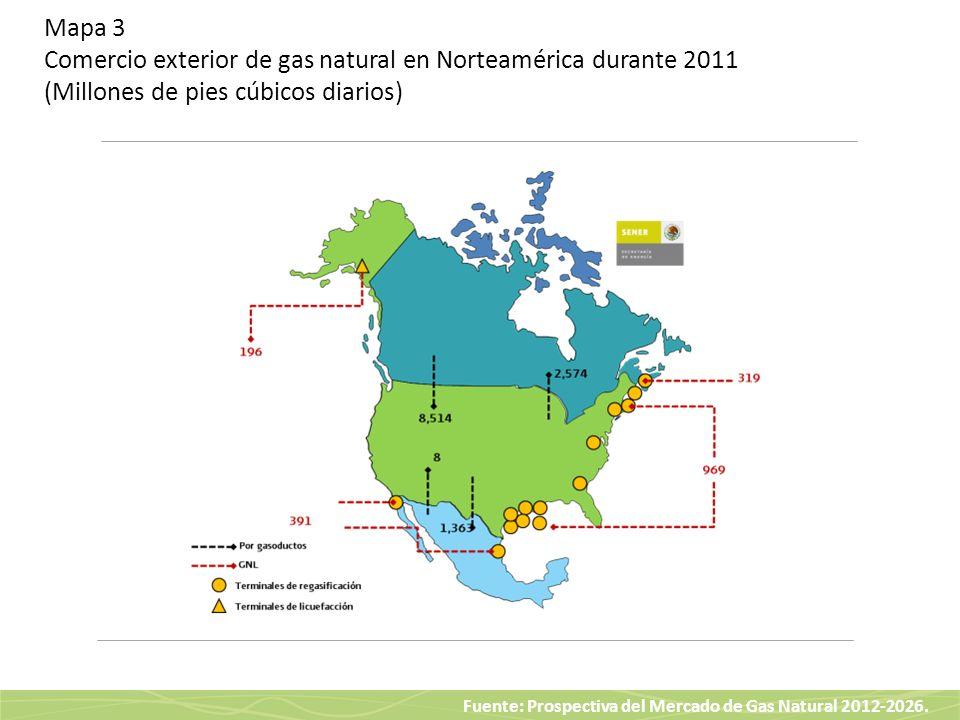 Mapa 3 Comercio exterior de gas natural en Norteamérica durante 2011 (Millones de pies cúbicos diarios)