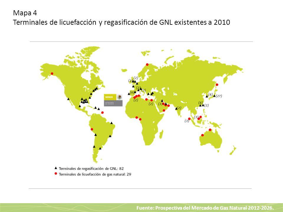 Mapa 4 Terminales de licuefacción y regasificación de GNL existentes a 2010