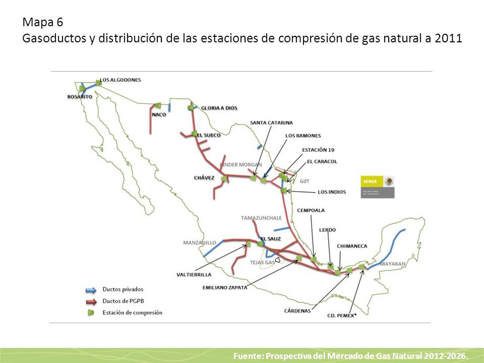 Mapa 6 Gasoductos y distribución de las estaciones de compresión de gas natural a 2011