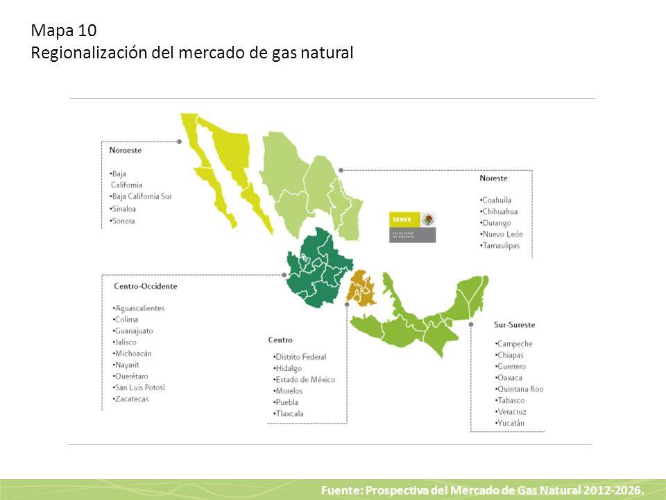 Mapa 10 Regionalización del mercado de gas natural