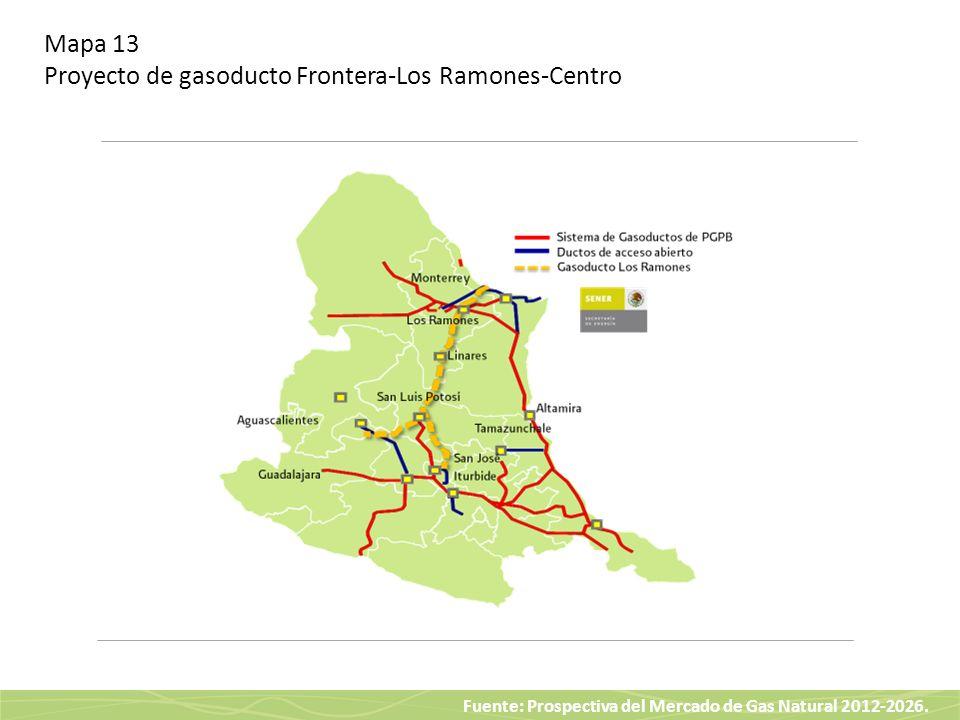 Mapa 13 Proyecto de gasoducto Frontera-Los Ramones-Centro