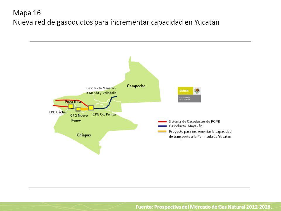 Mapa 16 Nueva red de gasoductos para incrementar capacidad en Yucatán