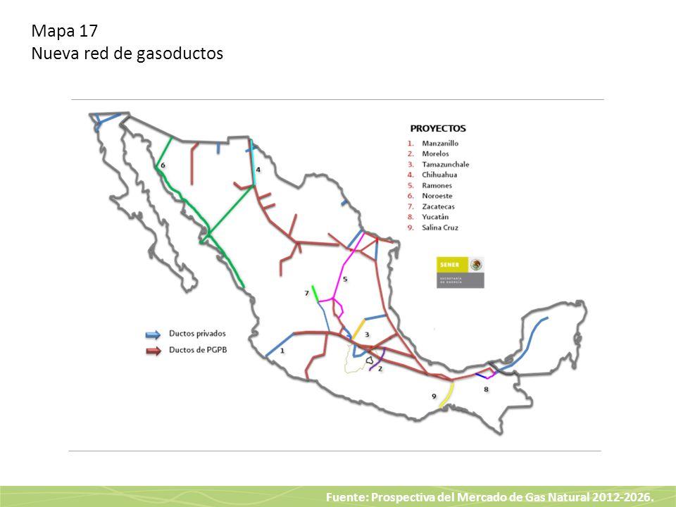 Mapa 17 Nueva red de gasoductos