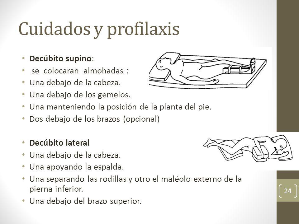 Cuidados y profilaxis Decúbito supino: se colocaran almohadas :