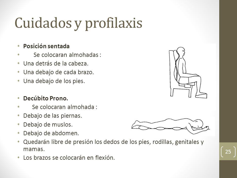 Cuidados y profilaxis Posición sentada Se colocaran almohadas :