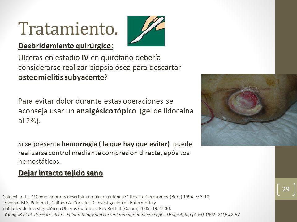 Tratamiento. Desbridamiento quirúrgico: