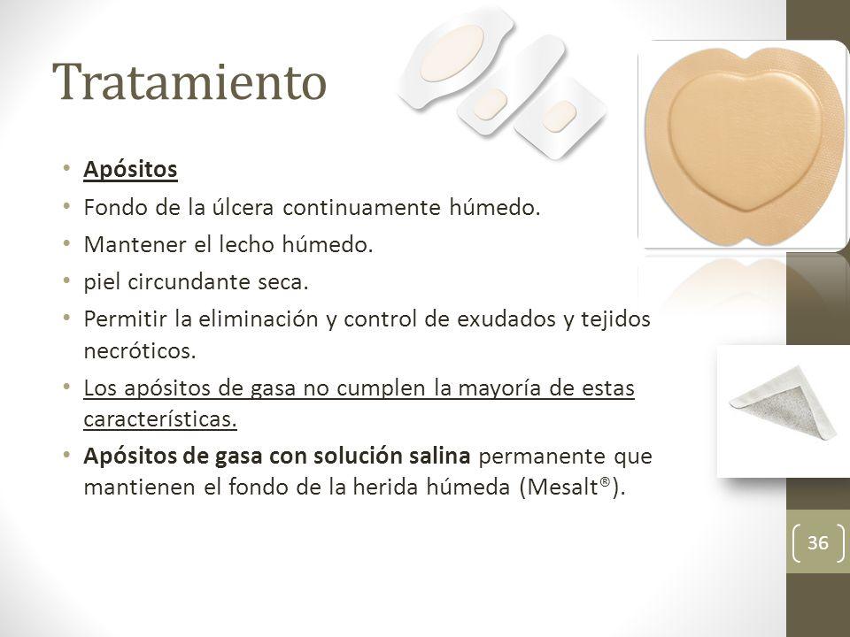 Tratamiento Apósitos Fondo de la úlcera continuamente húmedo.