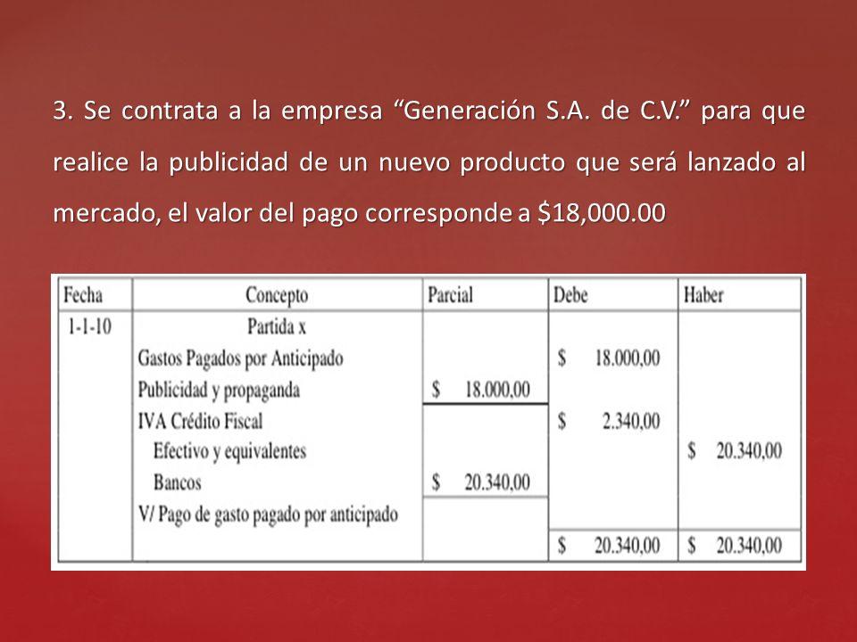 3. Se contrata a la empresa Generación S. A. de C. V