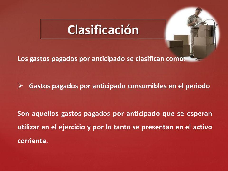 Clasificación Los gastos pagados por anticipado se clasifican como: