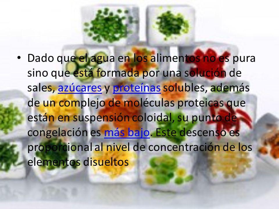 Dado que el agua en los alimentos no es pura sino que está formada por una solución de sales, azúcares y proteínas solubles, además de un complejo de moléculas proteicas que están en suspensión coloidal, su punto de congelación es más bajo.