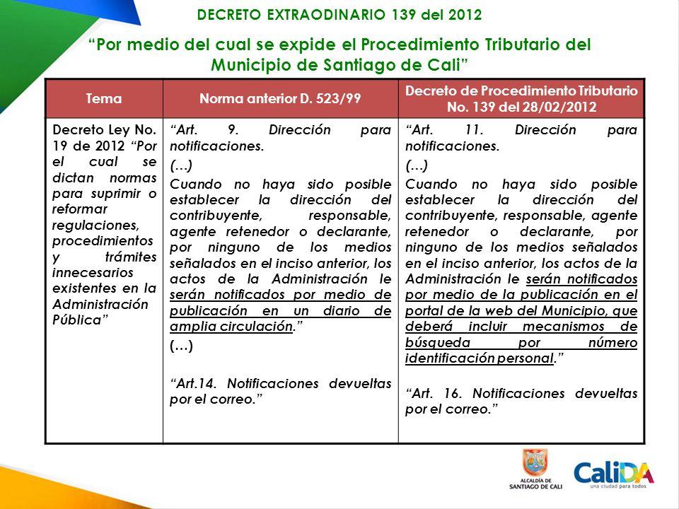 DECRETO EXTRAODINARIO 139 del 2012