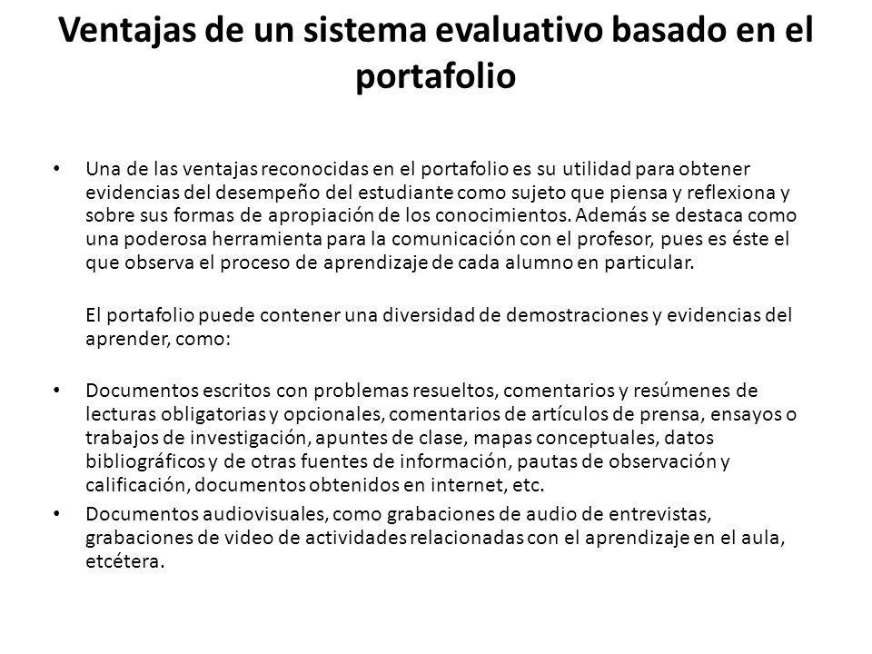 Ventajas de un sistema evaluativo basado en el portafolio