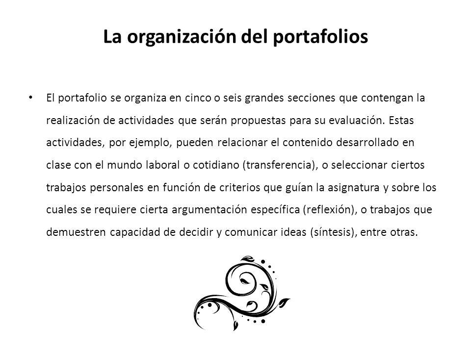 La organización del portafolios