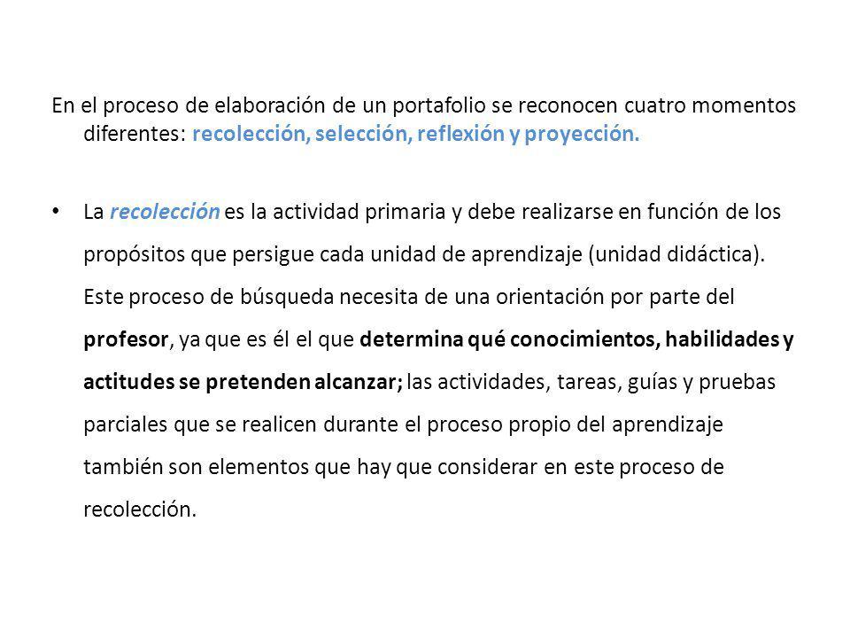 En el proceso de elaboración de un portafolio se reconocen cuatro momentos diferentes: recolección, selección, reflexión y proyección.
