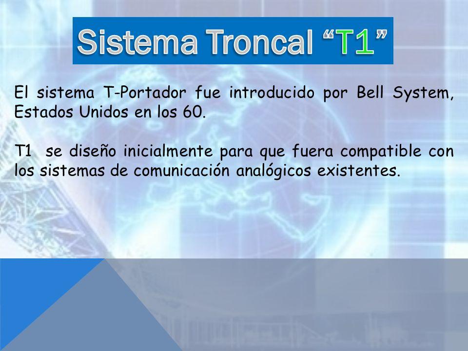 Sistema Troncal T1 El sistema T-Portador fue introducido por Bell System, Estados Unidos en los 60.
