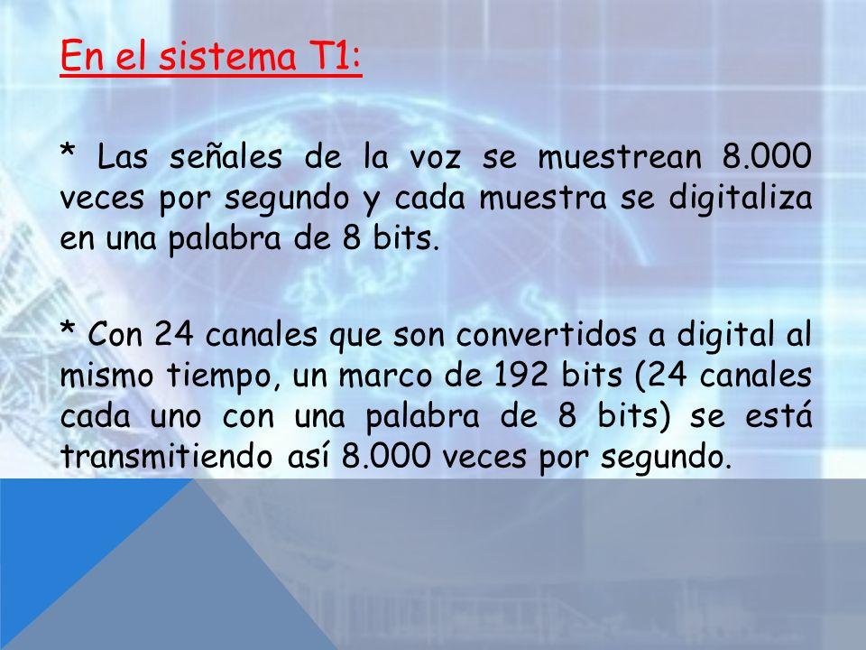 En el sistema T1: * Las señales de la voz se muestrean 8.000 veces por segundo y cada muestra se digitaliza en una palabra de 8 bits.