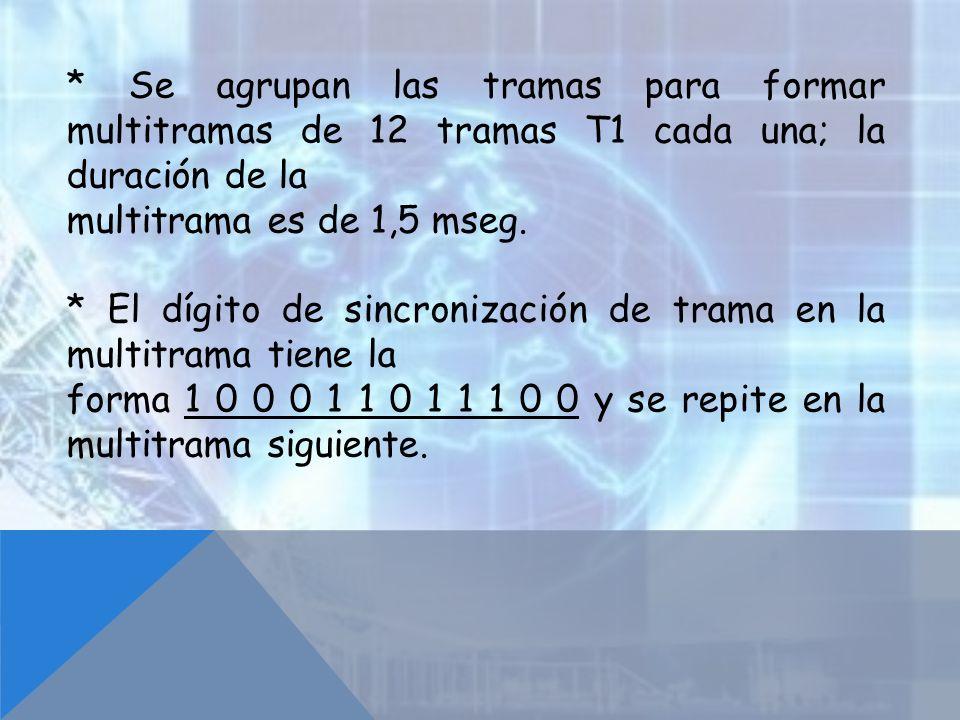 * Se agrupan las tramas para formar multitramas de 12 tramas T1 cada una; la duración de la