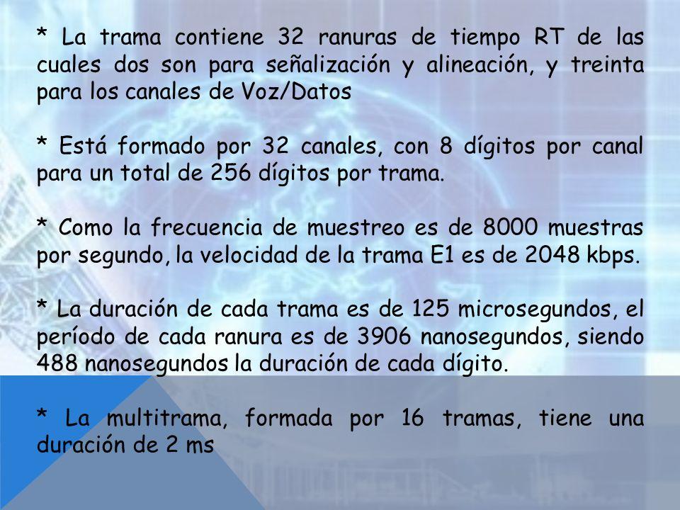 * La trama contiene 32 ranuras de tiempo RT de las cuales dos son para señalización y alineación, y treinta para los canales de Voz/Datos