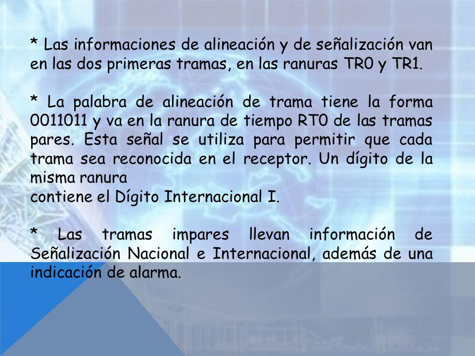 * Las informaciones de alineación y de señalización van en las dos primeras tramas, en las ranuras TR0 y TR1.