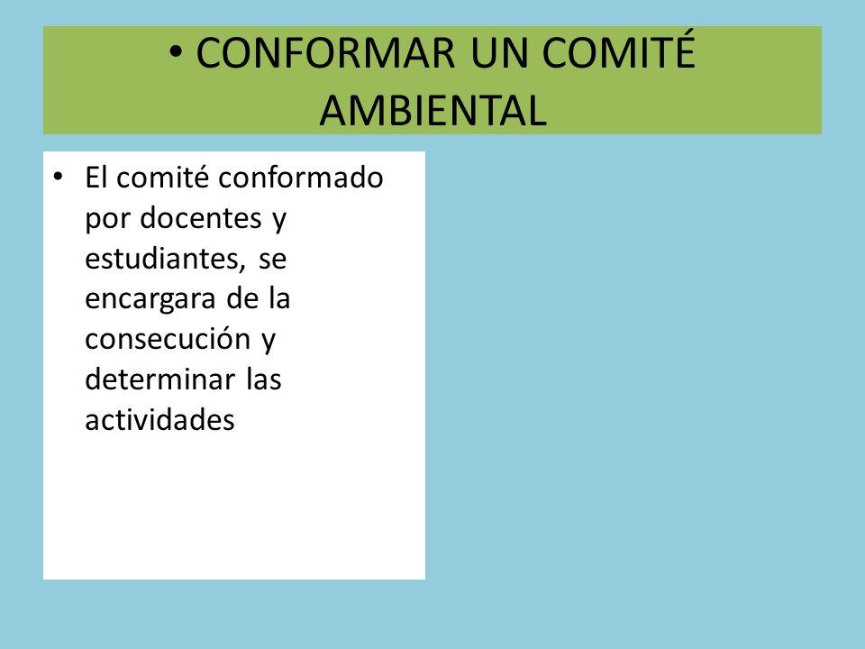 CONFORMAR UN COMITÉ AMBIENTAL