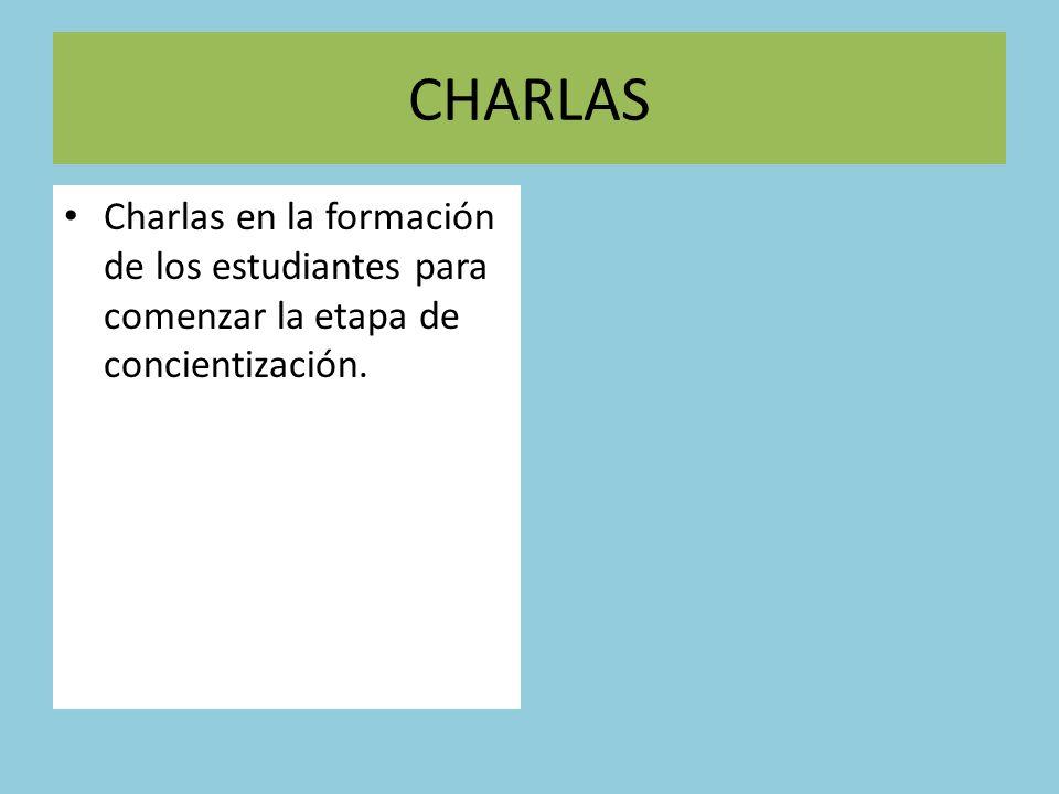 CHARLAS Charlas en la formación de los estudiantes para comenzar la etapa de concientización.